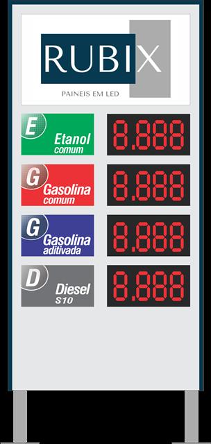Placa eletrônica de led 4 produtos face unica para posto de combustíveis