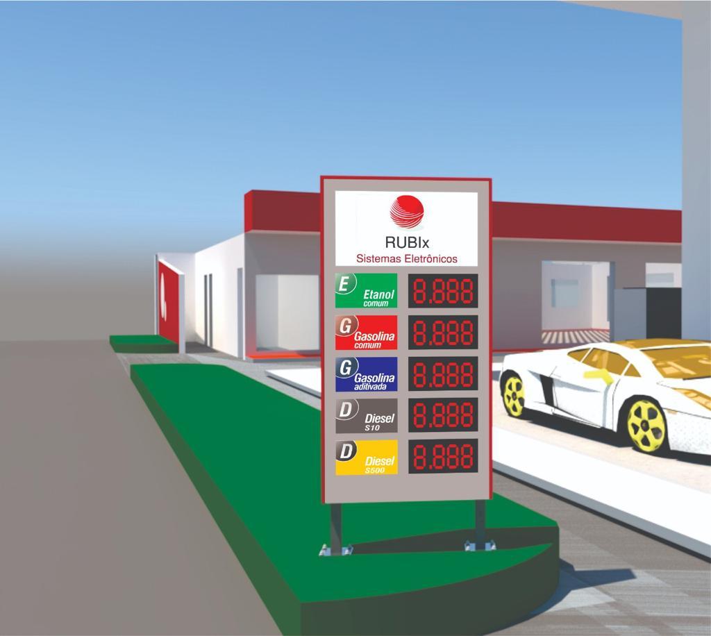 Placa eletrônica de led 5 produtos dupla face para posto de combustíveis