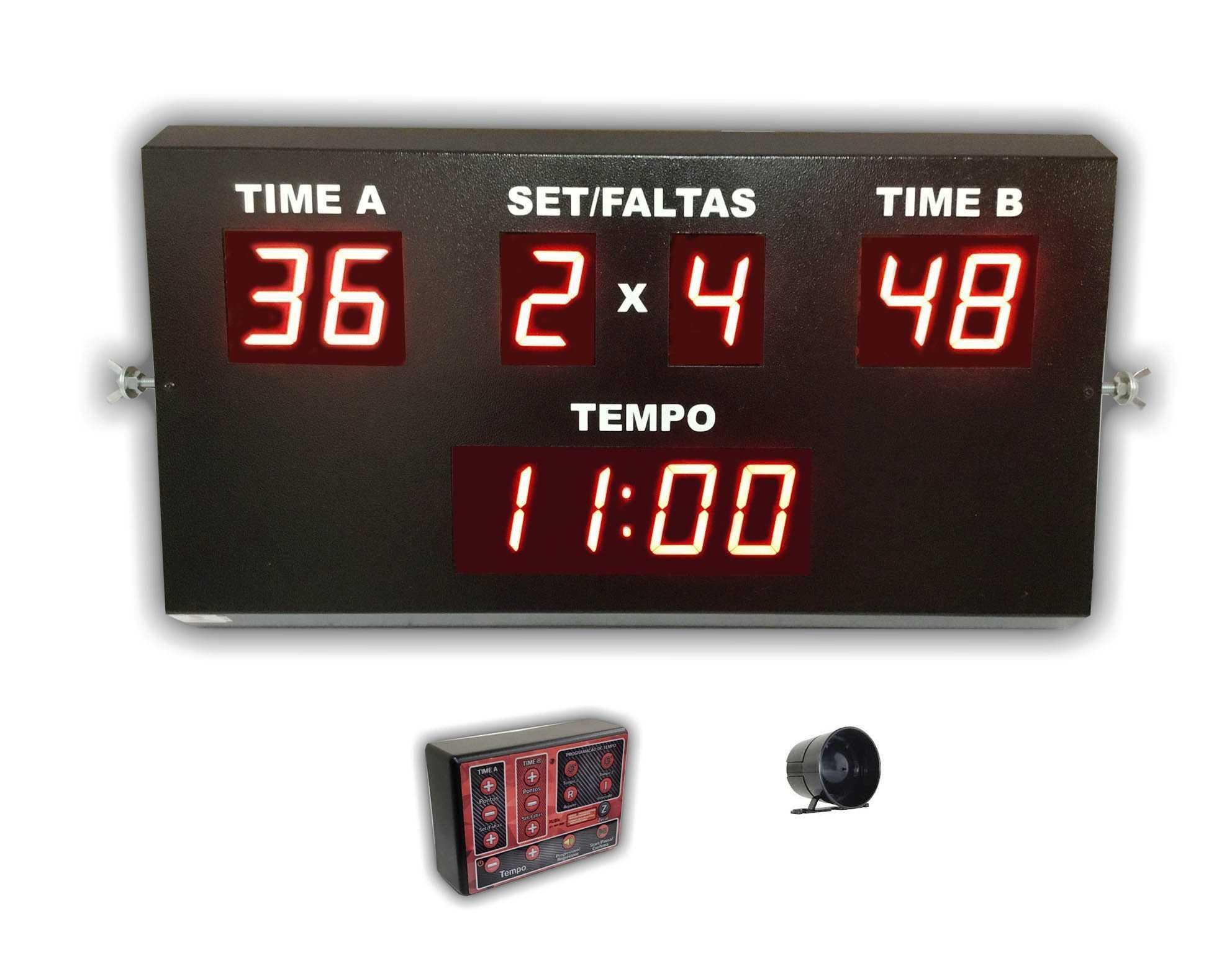 Placar eletrônico de led slim para futebol society e futsal