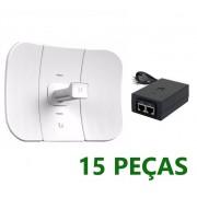 15 Antenas Ubiquiti LiteBeam M5 Lbe 5.8ghz 23dbi Com Fonte Poe