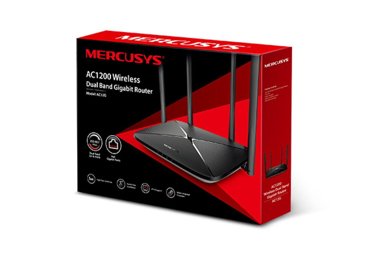 Roteador Gigabit Dual Band Ac1200 Ac12g Mercusys P/ Pc Gamer