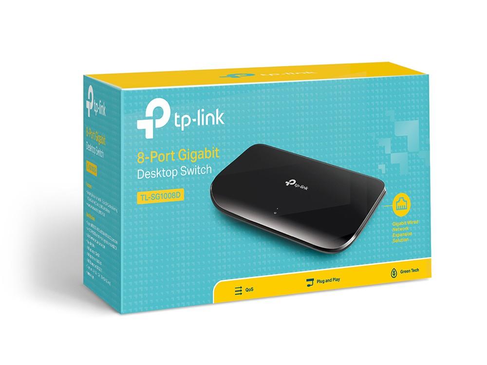Switch Hub 08 Portas TP-LINK MOD.  TL-SG1008D 10/100/1000 Gigabit