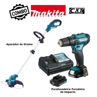 Combo Makita Parafusadeira 12V 3/8 HP333DWYX3 + Aparador de Grama UR100DZX 12V