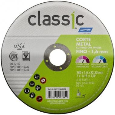 Disco de Corte Metal e Inox 7 X 1.6 X 22.23 CLASSIC AR102 Norton