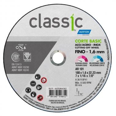 "Disco de Corte Metal e Inox 7"" X 1.6 X 22.23 Classic Norton"