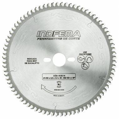 Disco de Serra de Vídea para MDF Eucalipto 250 x 80 ED 30º 8125.14 INDFEMA