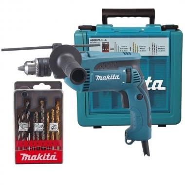 Furadeira de Impacto Makita 1/2 760W HP1640KX1 110V Com Maleta e Kit Brocas de Brinde