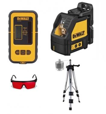 Nível a Laser Vermelho DW088K e Detector DW0892 DEWALT Com Tripé e Óculos Vermelho