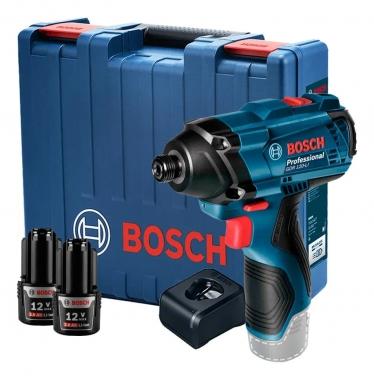 Parafusadeira e Chave de Impacto 12V Bosch GDR 120-LI Com 2 Baterias e Carregador