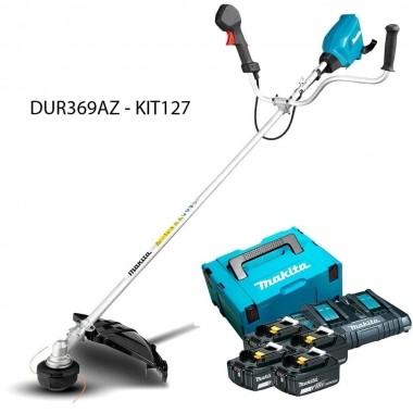 Roçadeira Lateral Makita 36V DUR369AZ-KIT127 Com 4 Baterias 5.0Ah e Carregador Duplo
