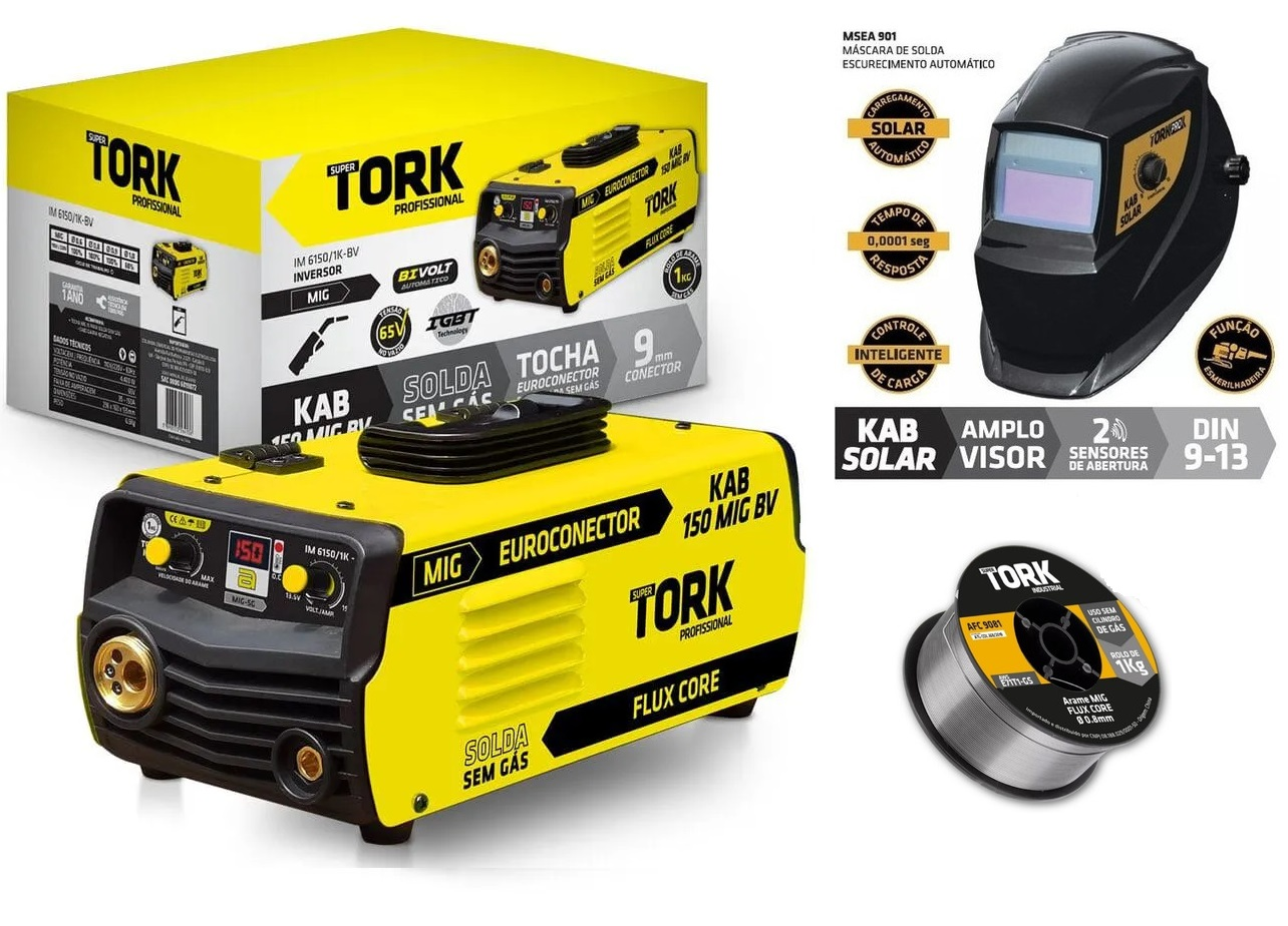 Combo Máquina de  Solda Inversora Mig Sem Gás Kab 150a IM-6150/1K Com Máscara e Arame TORK