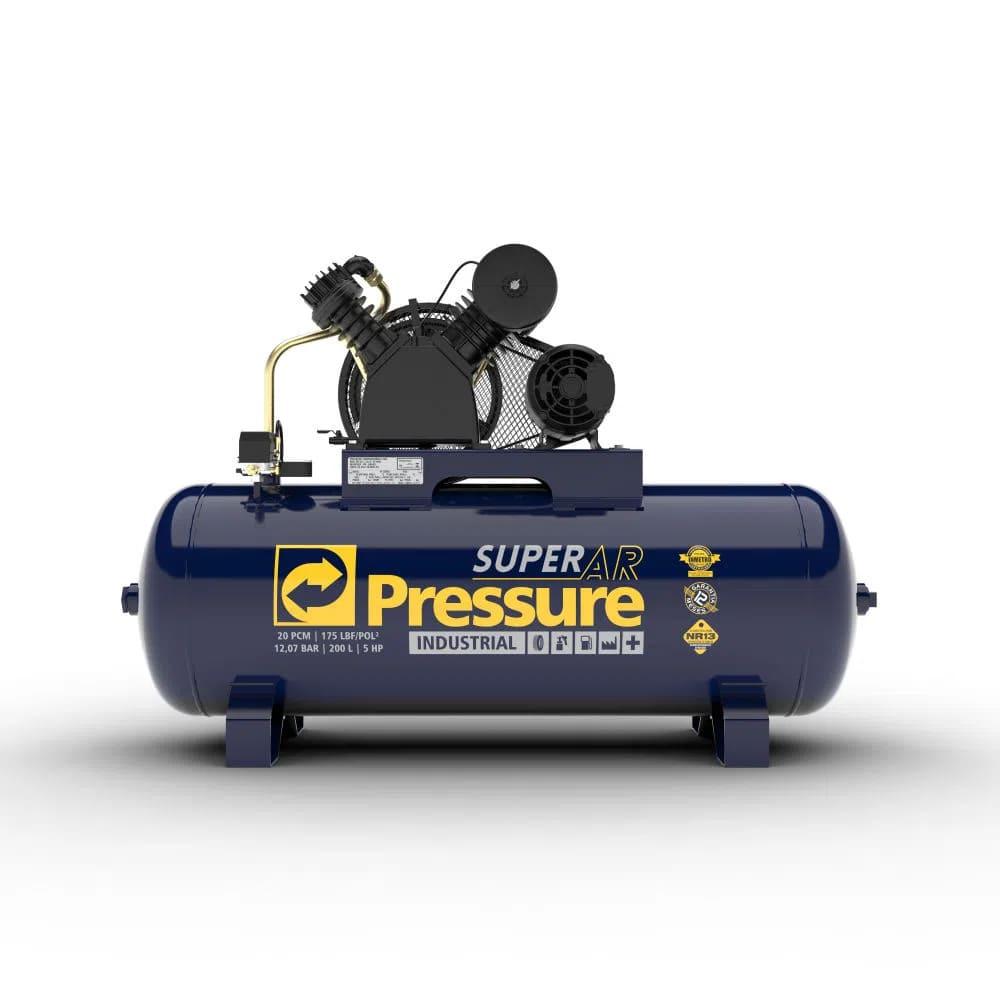 Compressor de Ar 20 Pés 200 Litros Trifásico 220/380V SUPER