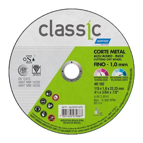 Disco de Corte Metal e Inox 4.1/2 X 1.0 X 22.23 CLASSIC AR102 Norton