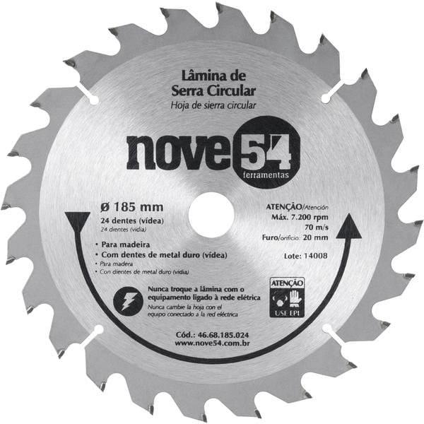 Disco de Serra de Vídea 185 x 24Z 20mm NOVE 54