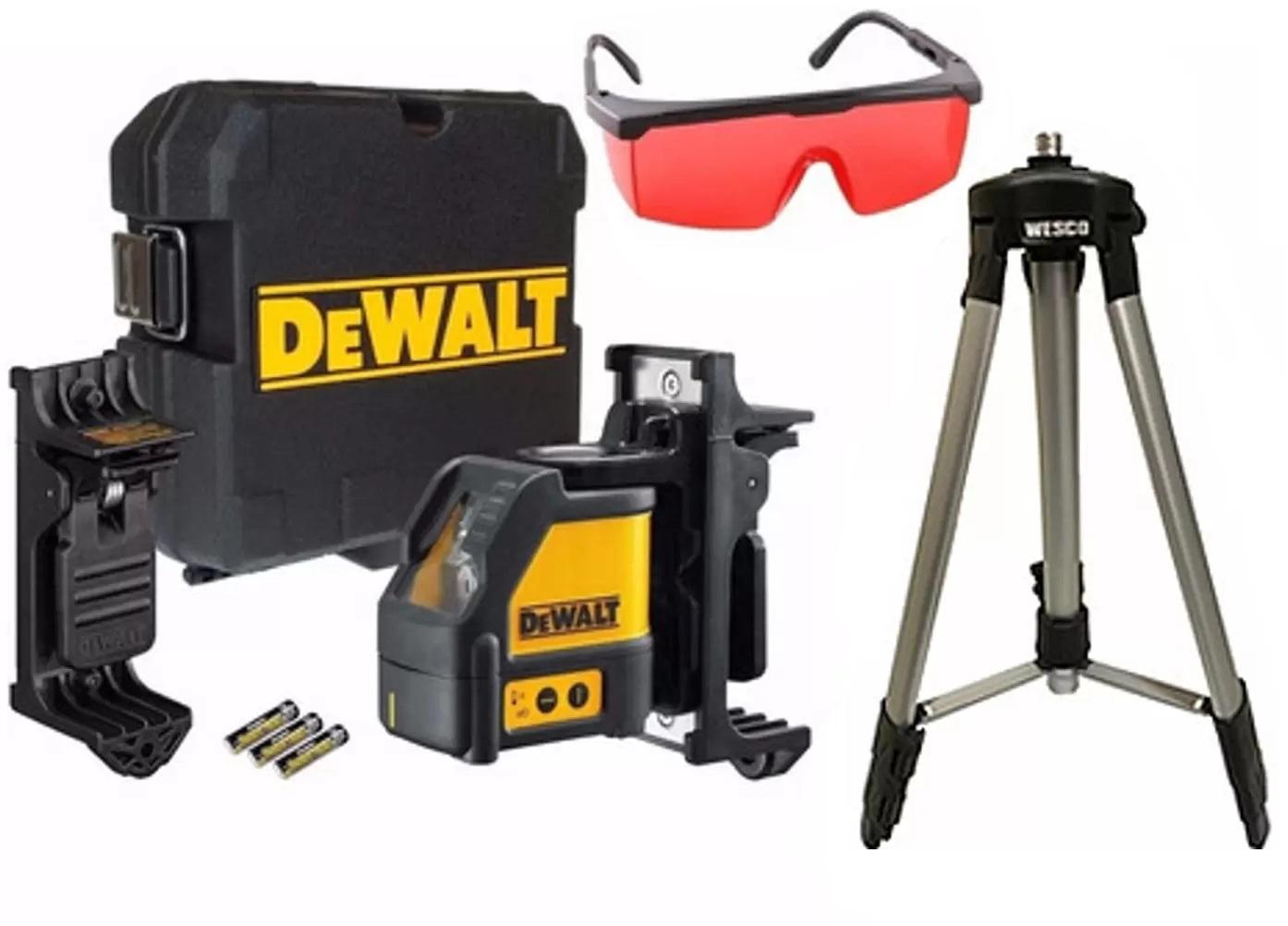 Nível a Laser Vermelho DW088K Com Tripé e Óculos Vermelho