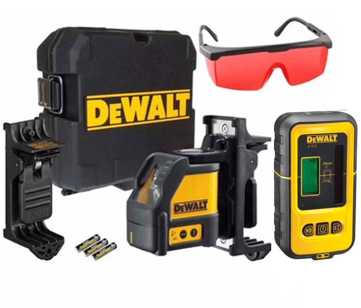 Nível a Laser Vermelho DW088K e Detector de Laser DW0892 DEWALT Com Óculos Vermelho