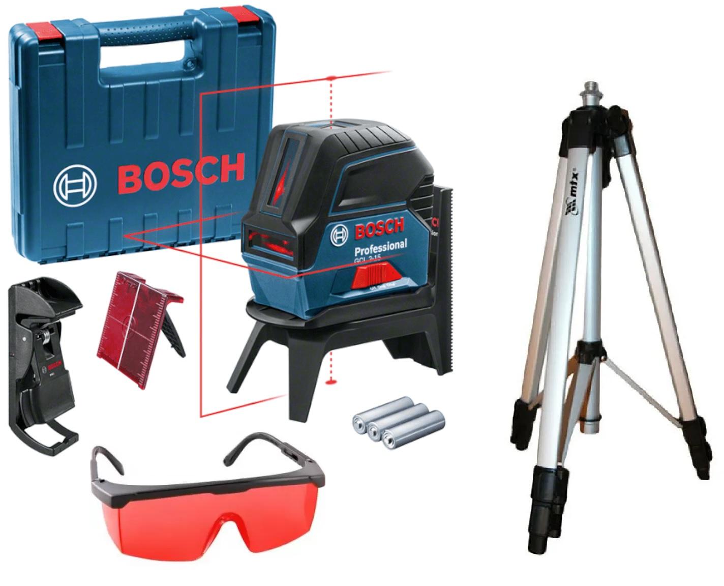 Nivel Laser Vermelho Prumo e Esquadro Bosch GCL 2-15 Com Óculos e Tripé
