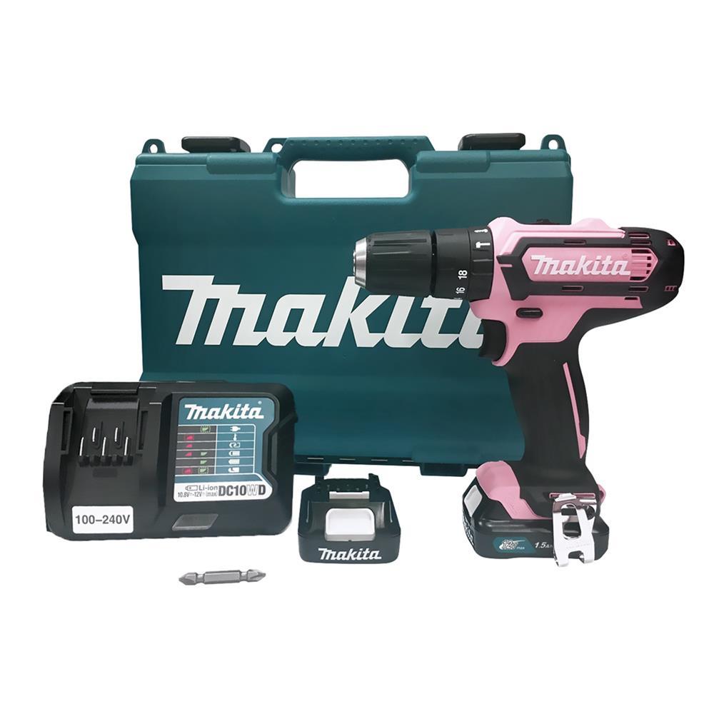 Parafusadeira e Furadeira de Impacto Rosa Makita 12V 3/8 HP333DWYEP Edição Especial