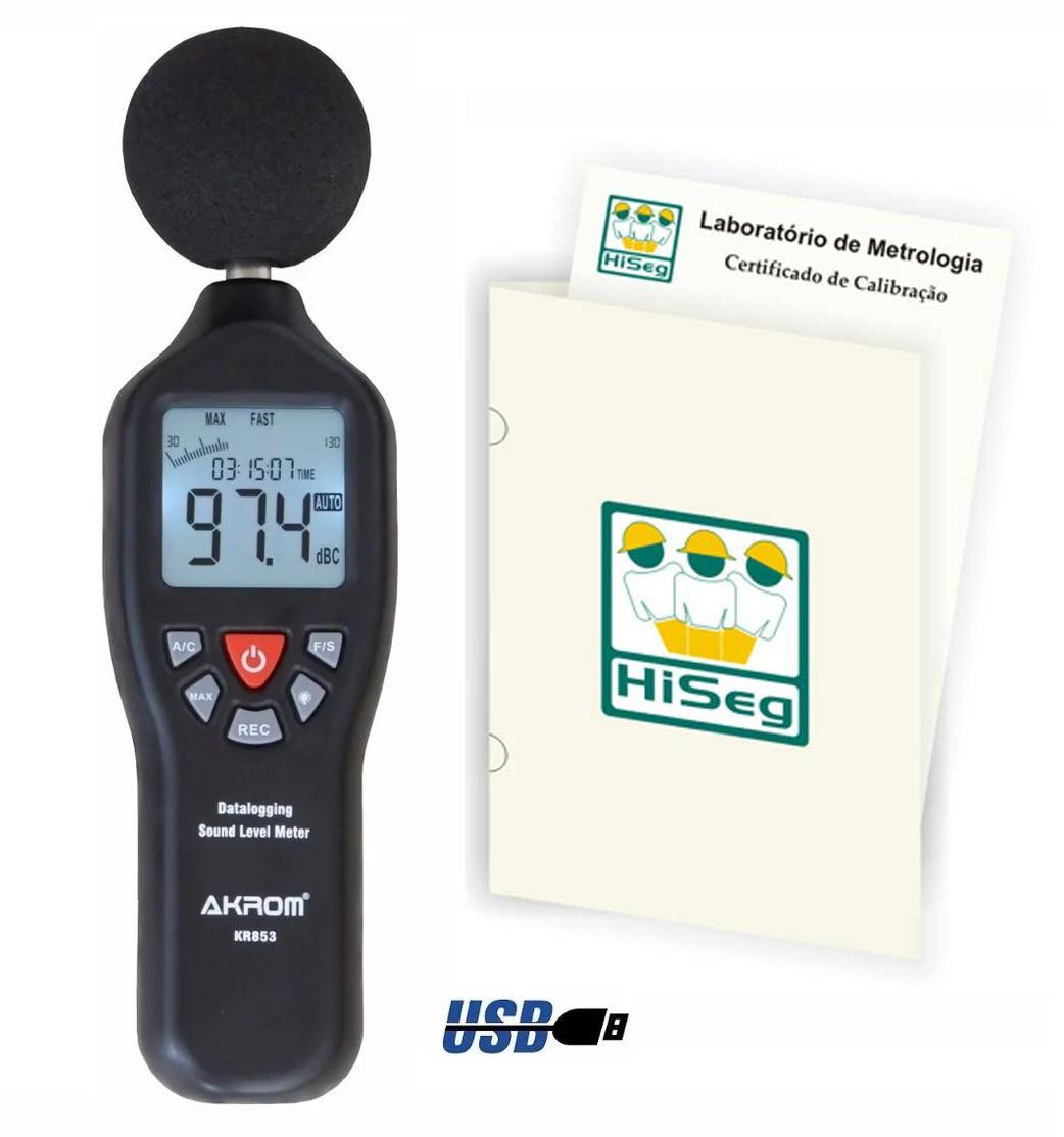 Decibelímetro Digital com Datalogger (32.000reg), modelo KR853, saída USB c/ software