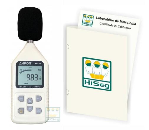 KR863 - Decibelímetro Digital (dBA/dBC), barra gráfica com certificado