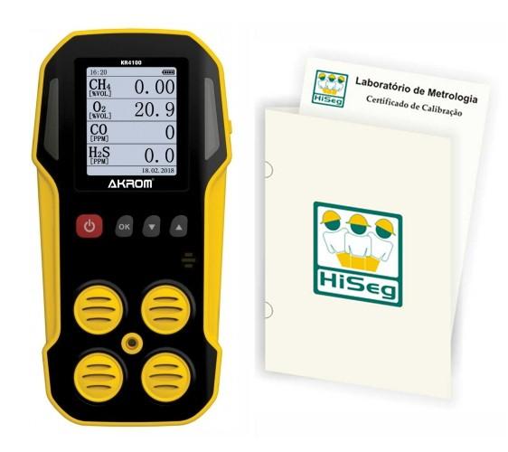KR4100 - DETECTOR MULTIGÁS PARA 4 GASES (O2, CO, LEL E H2S) COM CERTIFICADO