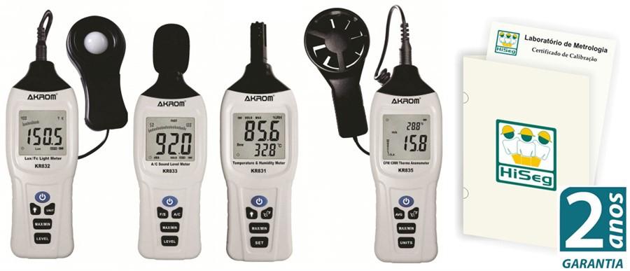 Kit2 Segurança do Trabalho: Luxímetro (KR832) + Decibelímetro (KR833) + Termo-higrômetro (KR831) + Anemômetro (KR835)