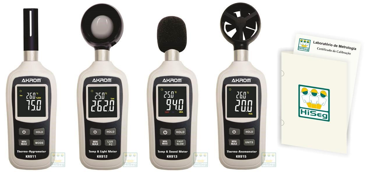 Kit Segurança do Trabalho: Decibelímetro (KR913) + Termo-higrômetro (KR911) + Luxímetro (KR912) + Anemômetro (KR915)