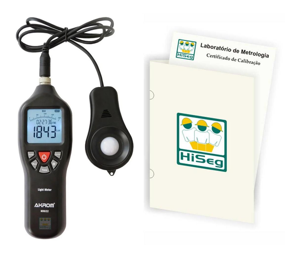 KR822 - LUXÍMETRO DIGITAL COM SENSOR EXTERNO (0 - 200.000 LUX) com certificado