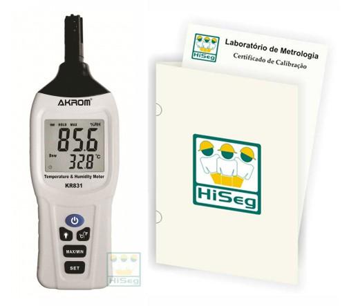 Medidor de Temperatura e Umidade com indicação de Ponto de Orvalho, modelo KR831