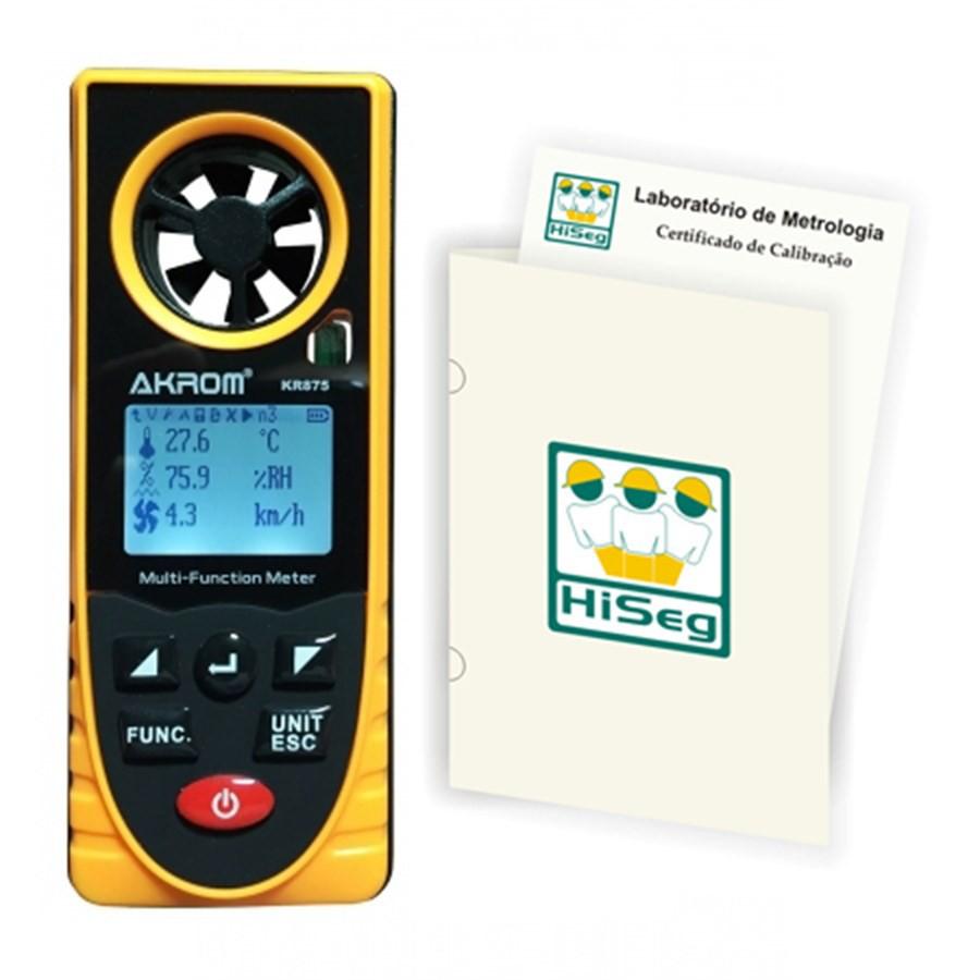 KR875 - Medidor Multiparâmetros (6x1) - Termo-Higro-Anemômetro-Luxímetro-Barômetro e Altímetro com certificado