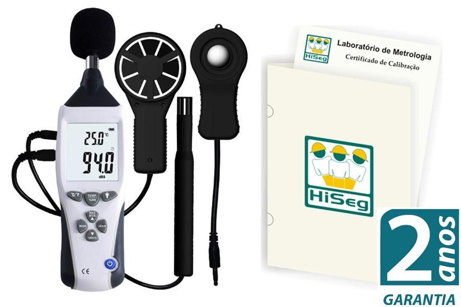 KR500 - Multifuncional 5X1 Termo-Higro-Decibelímetro-Luxímetro-Anemômetro com certificado