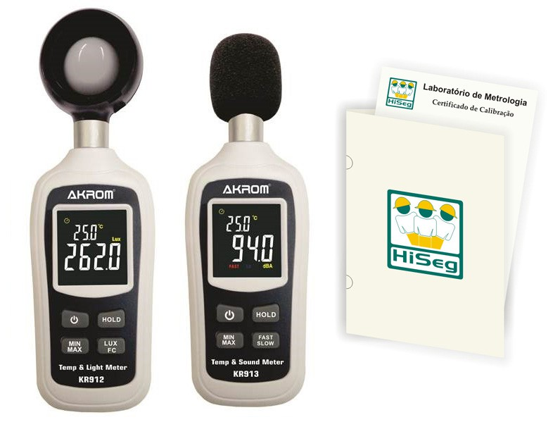 Pacote Promocional 4 - Decibelímetro modelo KR913 e Luxímetro modelo KR912 com certificado