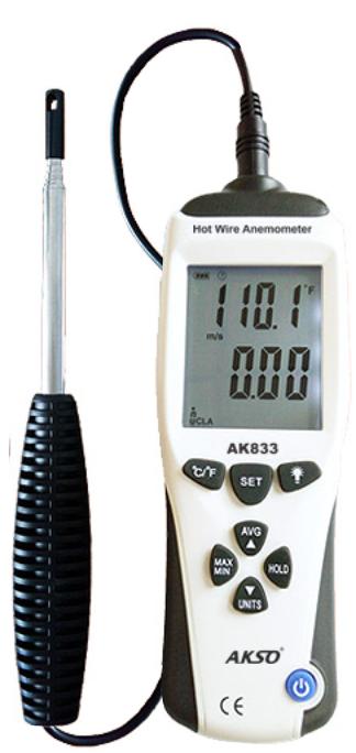 Termo-Anemômetro de Fio Quente, modelo AK833