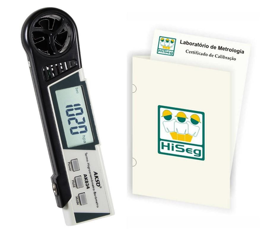 Termo-Higroanemômetro e Barômetro, modelo AK834