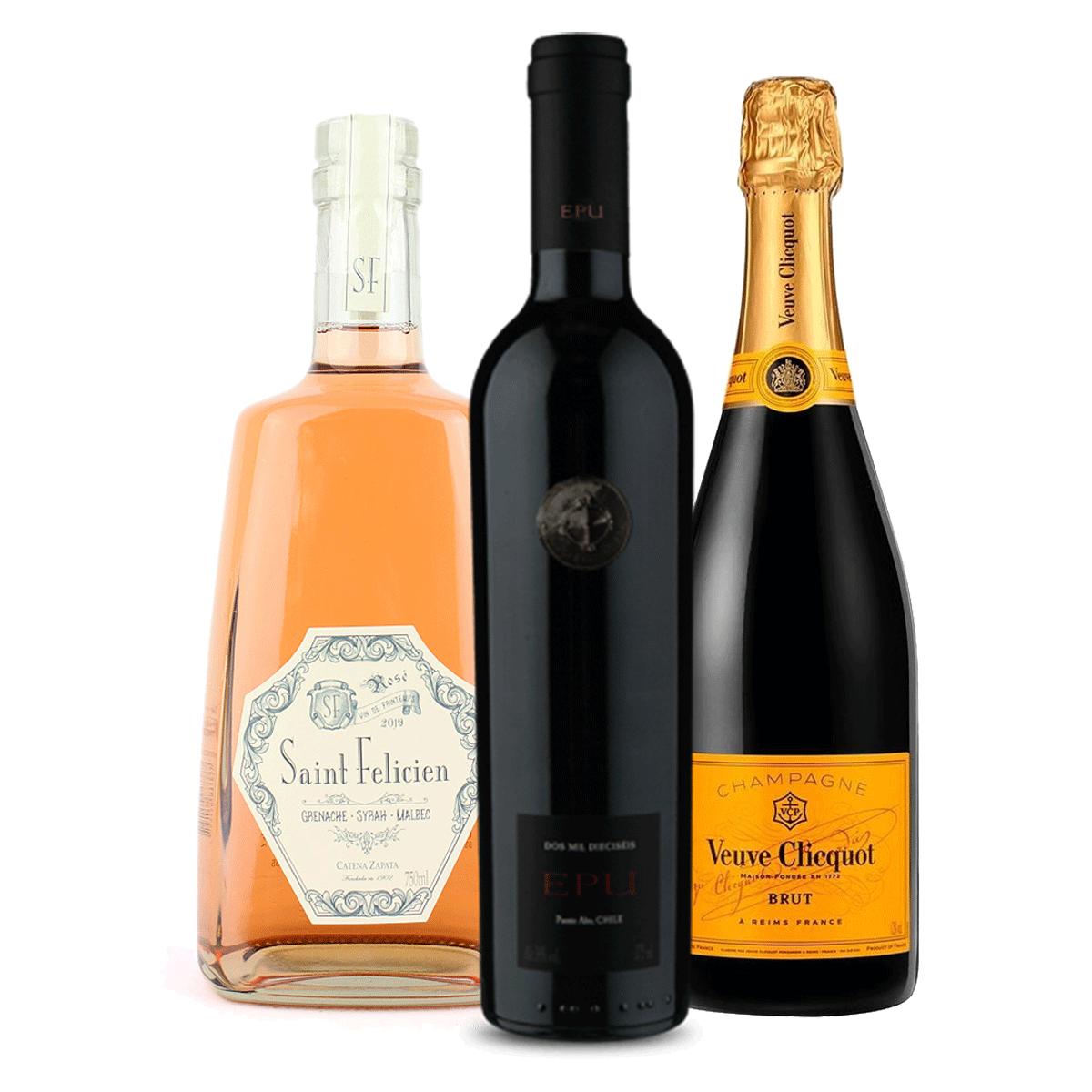 Kit 1 Champagne Veuve Clicquot 750ml + 1 Saint Felicien Rose 750ml + 1 Vinho Almaviva EPU 750ml
