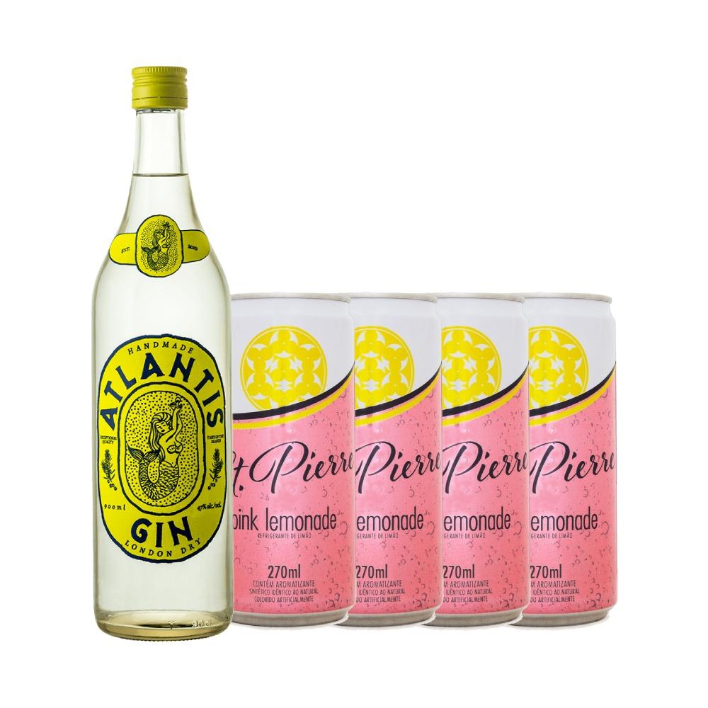 Kit 1 Gin Atlantis London Dry 900ml + 4 Refrigerantes St. Pierre Pink Lemonade 270ml