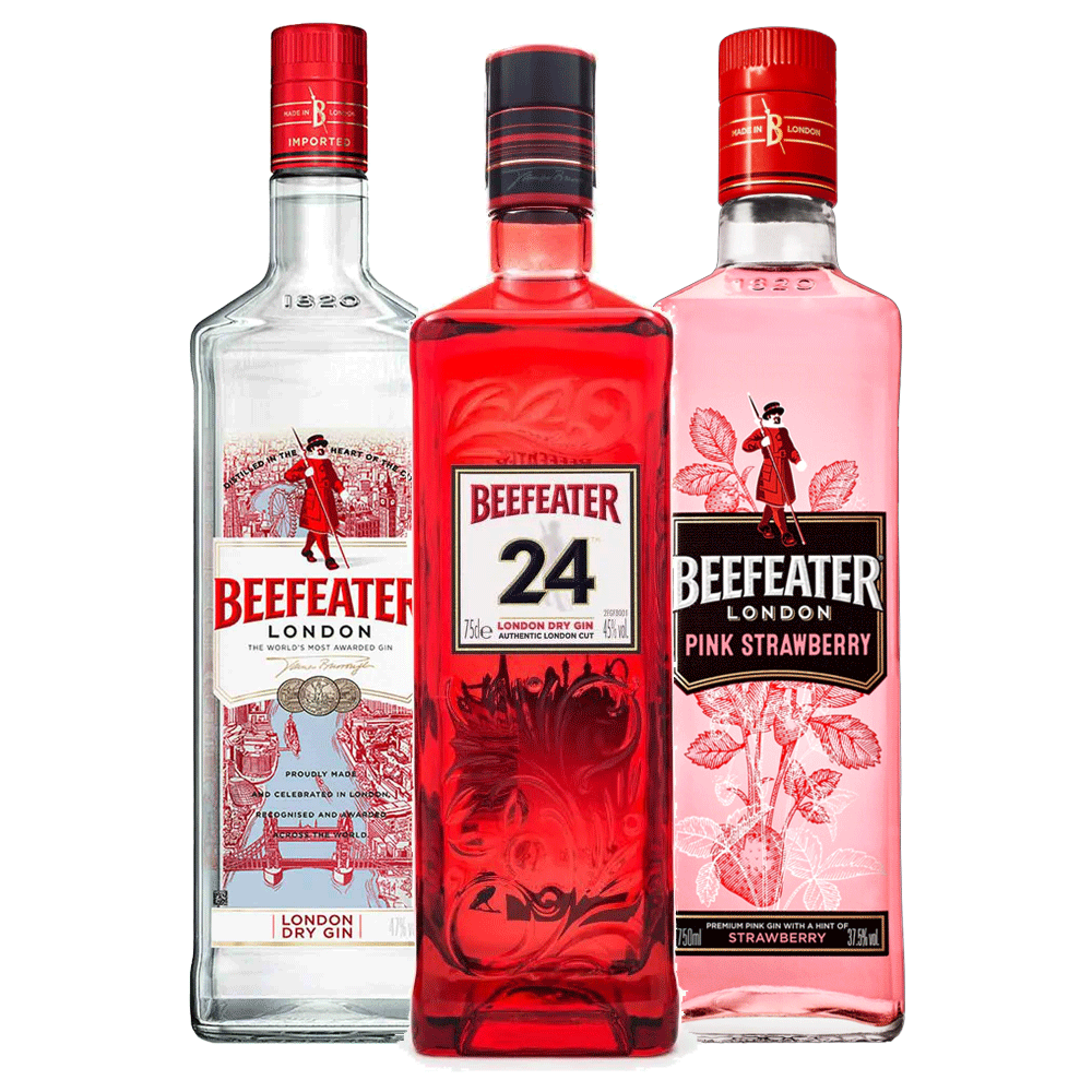 Kit 3 Beefeaters: London Dry, Pink Strawberry e 24