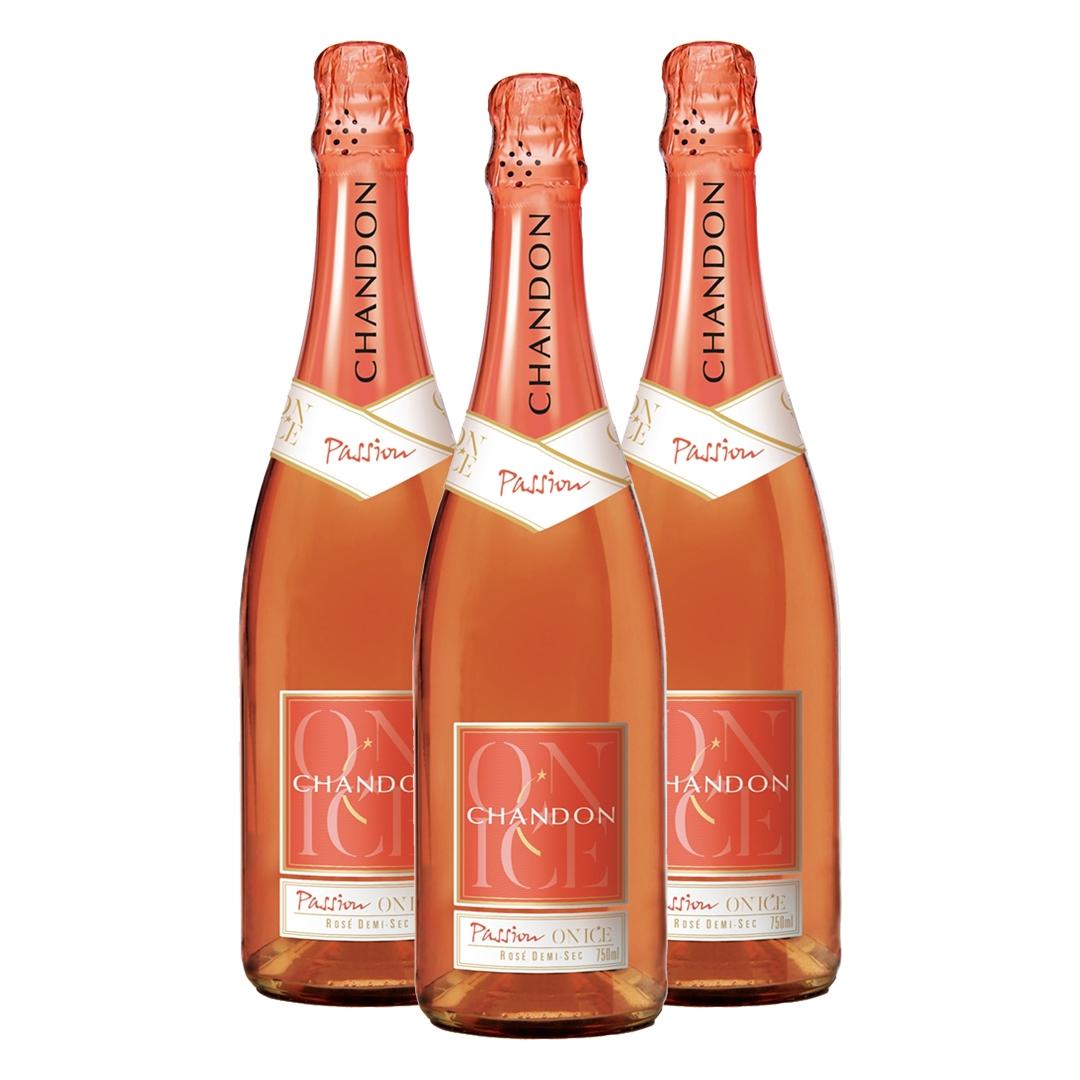 Kit 3 Espumantes Chandon Passion Rosé Demi-Sec 750 ml