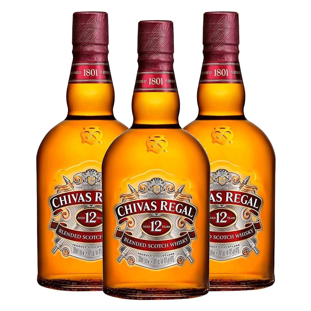 Kit 3 Whiskys Chivas Regal 12 anos 1000ml