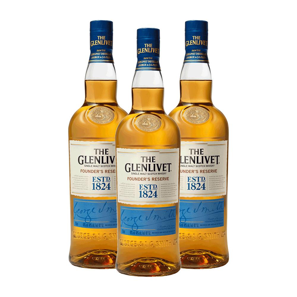 Kit 3 Whiskys Glenlivet Founders Reserve 750 ml