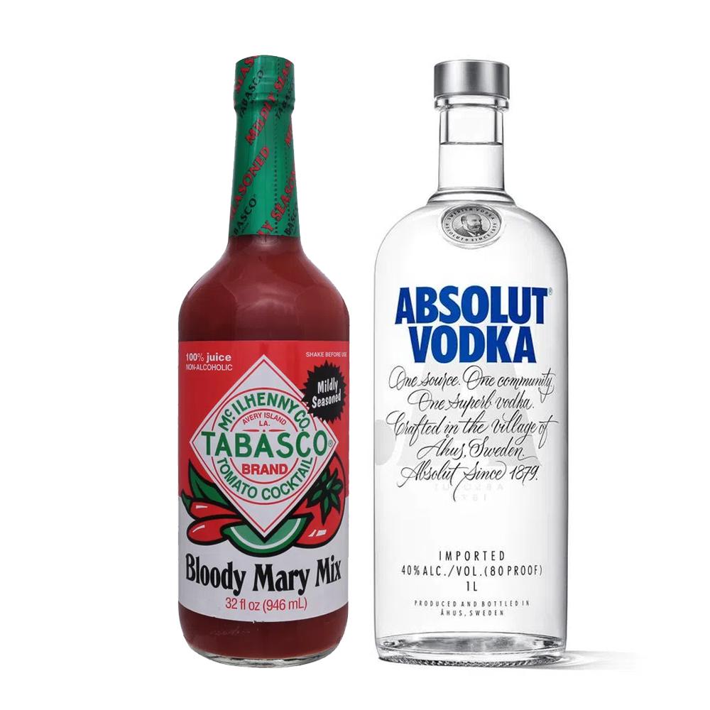 Kit Absolut Original 1000ml e Bloody Mary Mix Tabasco 946ml
