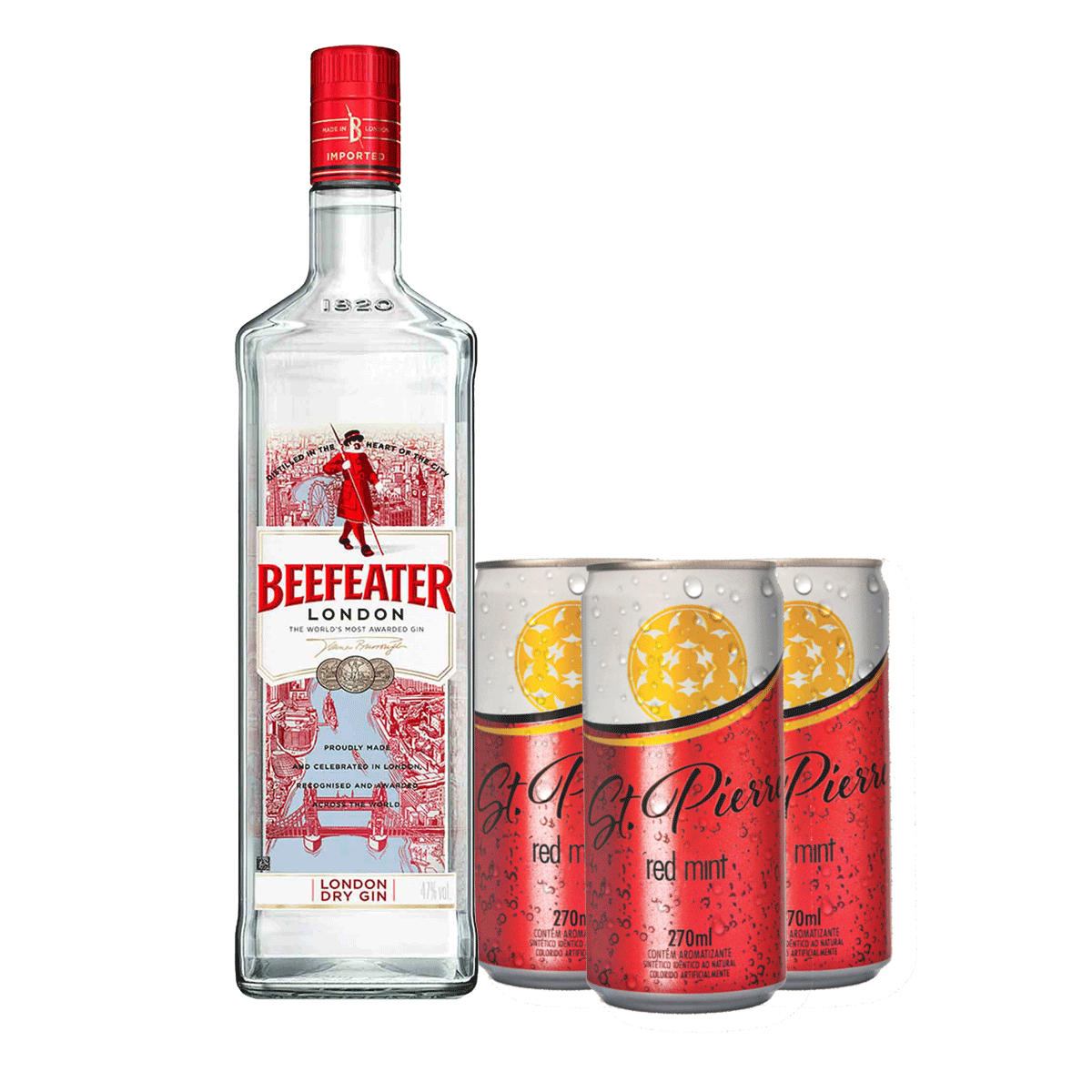 Kit Beefeater 750 ml + 3 St. Pierre Red Mint 270 ml