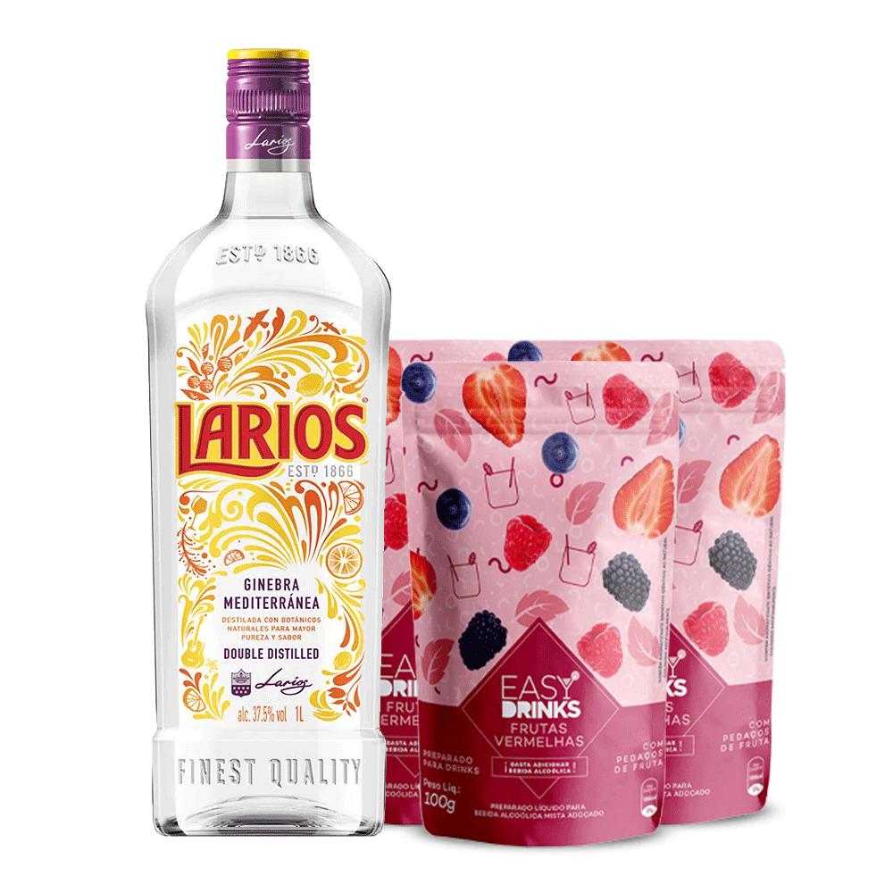 Kit Gin Larios 700 ml com 3 Easy Drinks Frutas Vermelhas