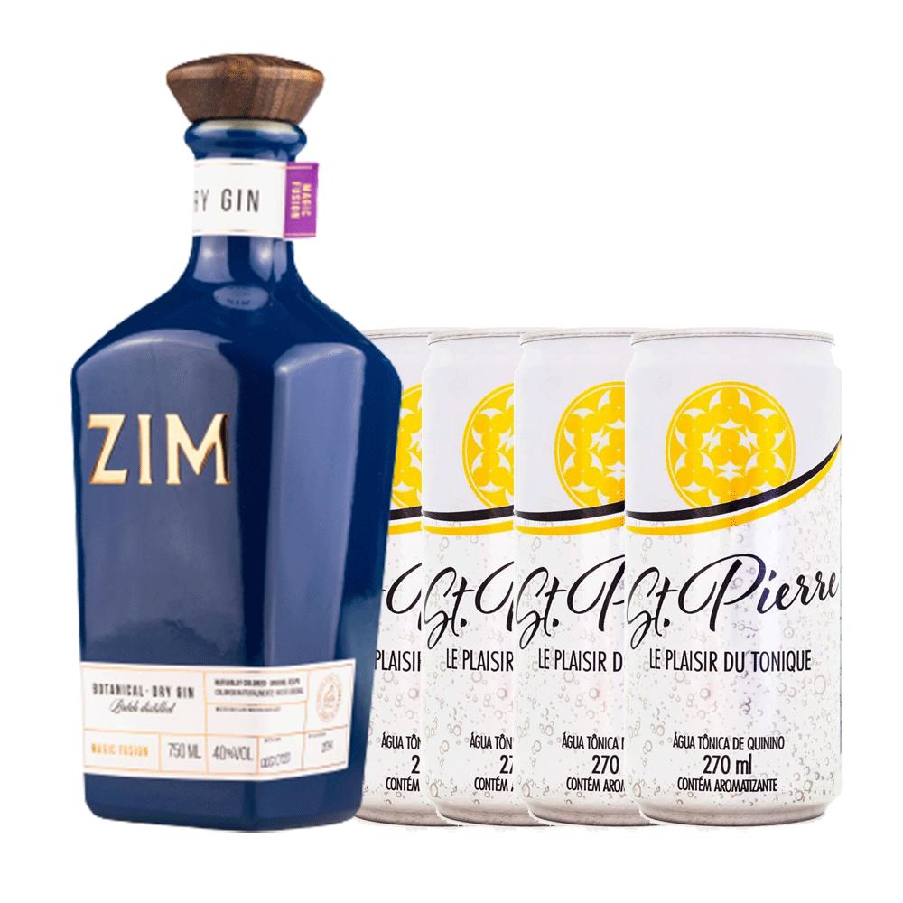 Kit Gin ZIM Magic Fusion Botanical 700ml com 4 Água Tônica St. Pierre