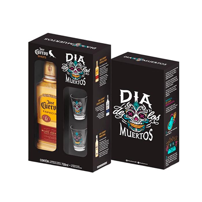 Kit José Cuervo Ouro 2 copos 750 ml - Dia de los Muertos
