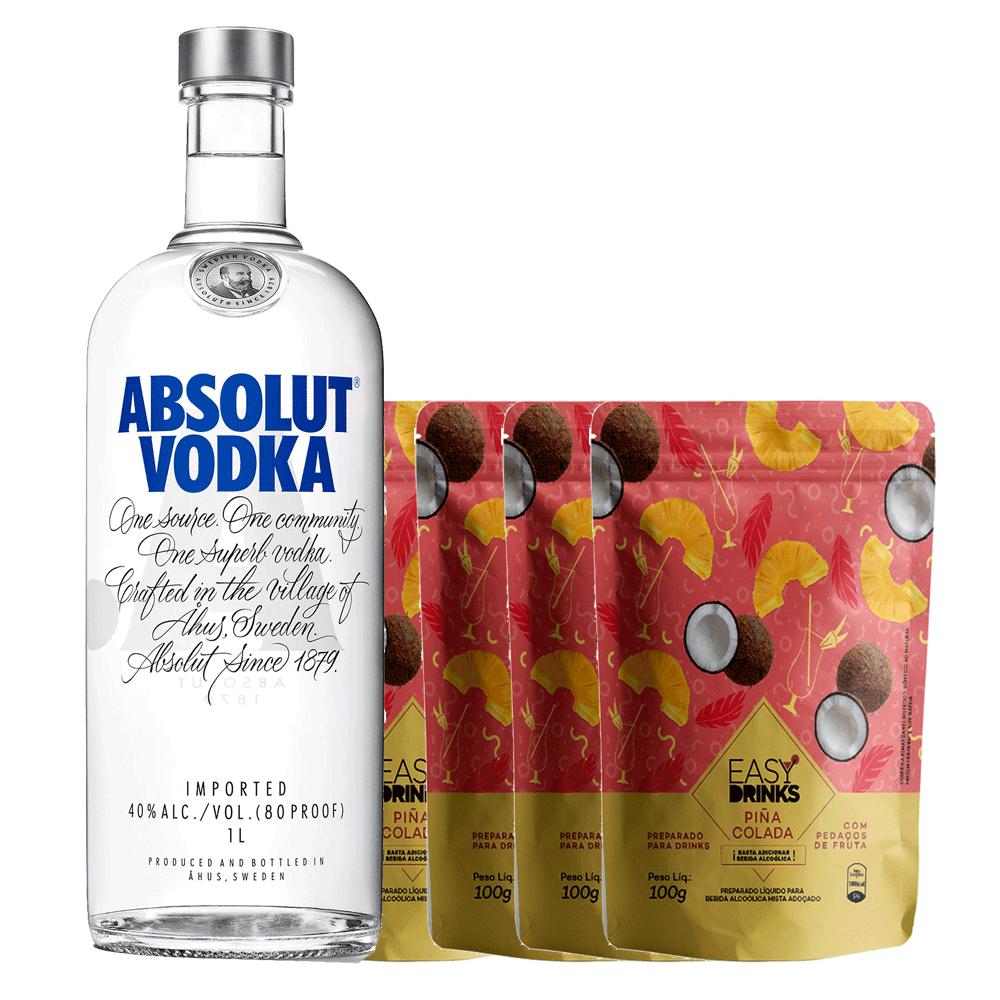 Kit Vodka Absolut 1000ml com 4 Easy Drinks Piña Colada