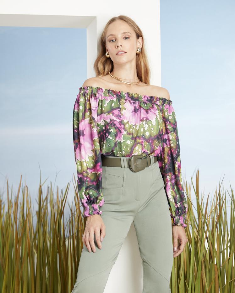 Blusa Ombro a Ombro Estampada Floral