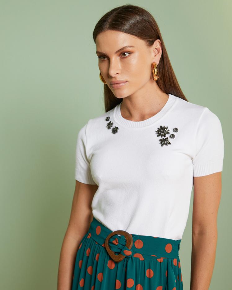 Blusa Tricô Bordado Flores