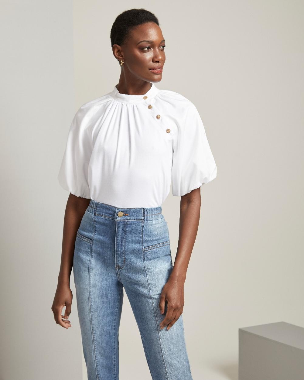 Calça Jeans com Cós Elástico