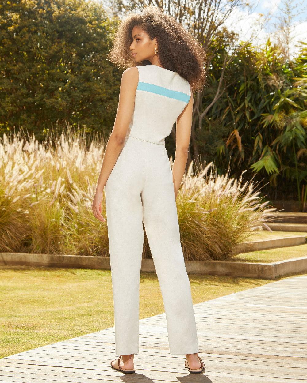 Conjunto Calça e Blusa Tipo Colete Bicolor
